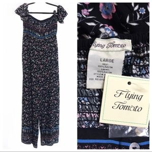 Flying Tomato Black & Pink Floral Jumpsuit NWT C2